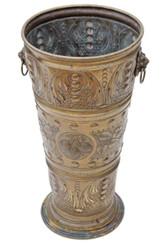 Antique Victorian brass hall stick or umbrella stand bucket