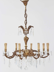 Antique large 8 lamp ormolu brass bronze crystal chandelier FREE DELIVERY