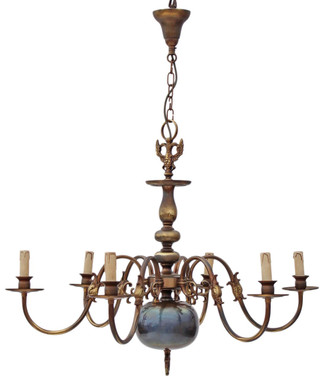 Antique Flemish 6 lamp brass bronze chandelier light fitting FREE DELIVERY