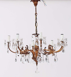 Antique 8 lamp ormolu brass bronze crystal chandelier FREE DELIVERY
