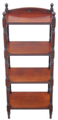 Antique Victorian 19C mahogany walnut open bookcase whatnot shelves display
