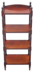 Antique Victorian 19C mahogany walnut open bookcase whatnot shelves display