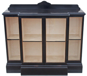 Antique large Victorian ebonised breakfront glazed display cabinet bookcase