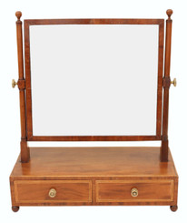 Antique Georgian Regency inlaid mahogany dressing table swing mirror toilet