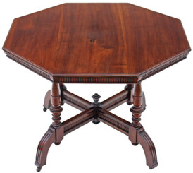 Antique quality Victorian walnut J. Shoolbred centre window side table