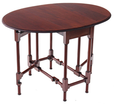 Antique quality Edwardian inlaid mahogany Sutherland tea supper table