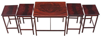 Antique quality mid 20C nest of 5 flame mahogany tables