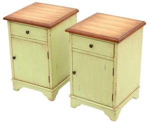 Antique pair of French shabby chic bedside tables cupboards reproduction