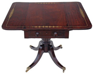 Antique Georgian Regency Brass Inlaid Rosewood Pedestal Pembroke Sofa Table