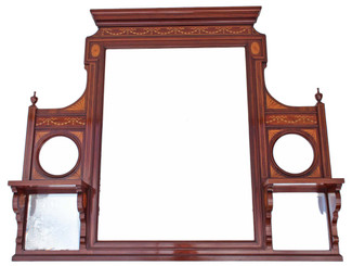 Antique large Victorian / Edwardian inlaid mahogany overmantle wall mirror