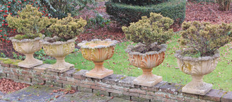 Antique set of 5 large weathered patinated concrete plant pots urns