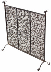 Antique Gothic steel wrought iron fire place screen spark guard