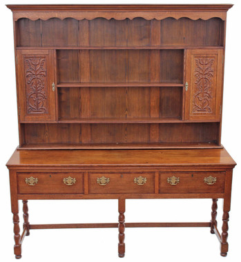 Antique large 19C Georgian and later crossbanded oak dresser sideboard