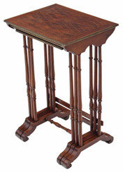 Antique nest of 3 mahogany brass bound parquetry tables side occasional