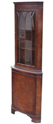 Antique Georgian revival burr walnut corner display cabinet cupboard