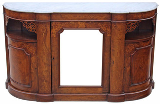 Antique large Victorian 19C inlaid burr walnut credenza chiffonier sideboard