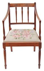 Antique Georgian Regency 19C mahogany elbow armchair chair desk