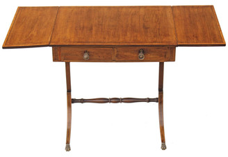 Antique Georgian Regency inlaid mahogany sofa table pembroke side