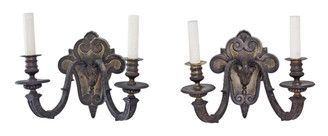 Antique pair of 2 lamp heavy bronze Gothic wall lights FREE DELIVERY