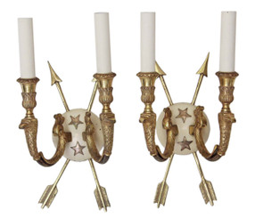 Antique pair of 2 lamp ormolu brass bronze arrow wall lights FREE DELIVERY