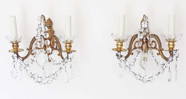 Antique pair of 2 lamp ormolu brass bronze crystal wall lights FREE DELIVERY