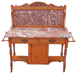 Antique Victorian 19C satinwood marble washstand side or dressing table