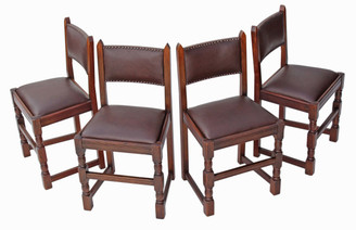 Antique quality set of 4 oak Gothic revival dining chairs