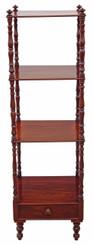 Antique Victorian 19C mahogany open bookcase whatnot shelves display