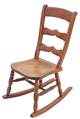 Antique late Victorian / Edwardian elm beech rocking chair rustic charm