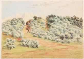 Antique 19C Victorian watercolour landscape painting Seathorne Lincolnshire FREE DELIVERY