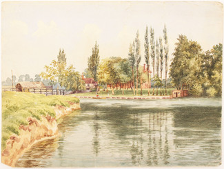 Antique British 19th C Victorian watercolour landscape painting The Thames 1883 FREE DELIVERY