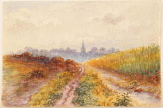 Antique 19th Century Victorian watercolour landscape painting Brimpton Berkshire FREE DELIVERY