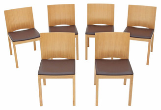 Quality set of 6 modern designer dark brown leather light oak dining chairs