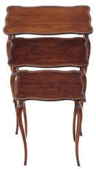 Antique quality early/mid 20C nest of 3 mahogany tables side occasional