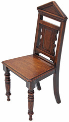 Antique Victorian 19C Gothic oak side hall chair