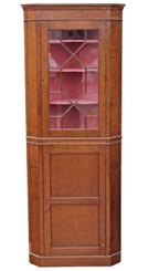 Antique quality Georgian revival oak corner display cabinet cupboard