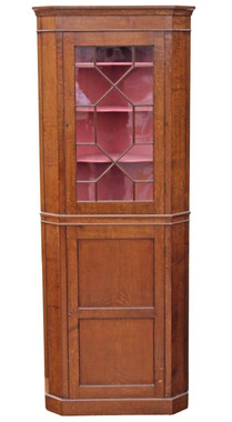 Antique quality Georgian revival oak corner display cabinet cupboard