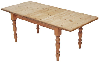 "Antique large extending pine kitchen dining table scrub top farmhouse 6'6"""