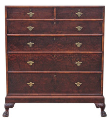 Antique tall Georgian revival burr walnut mulberry chest of drawers