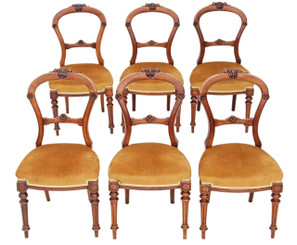 Antique set of 6 Victorian 19C carved walnut balloon back dining chairs