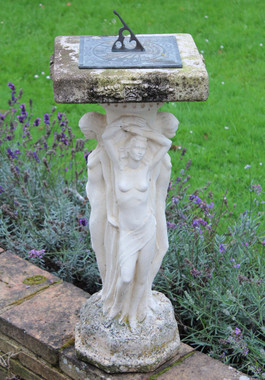 Antique large weathered patinated reconstituted stone sundial