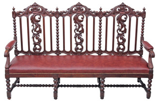Antique Victorian 19C carved oak leather settle hall seat bench Gothic sofa