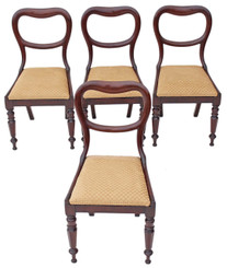 Antique set of 4 William IV Regency 19C balloon back mahogany dining chairs