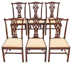 Antique quality set of 6 Georgian Chippendale mahogany dining chairs revival