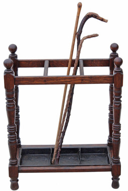 Antique Victorian heavy Gothic oak hall stick or umbrella stand
