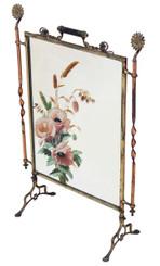 Antique Victorian ormolu brass copper fire screen Christopher Dresser