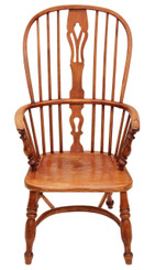 Antique ash elm Windsor armchair carver hall side dining chair