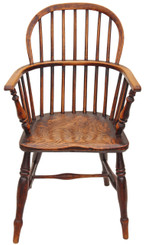 Antique Victorian ash elm Windsor armchair chair carver hall side dining