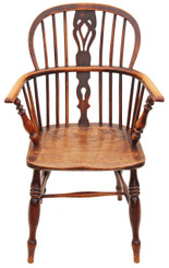 Antique Victorian ash elm Windsor armchair chair hall side dining carver