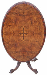 Antique Victorian inlaid burr walnut oval loo breakfast table tilt top